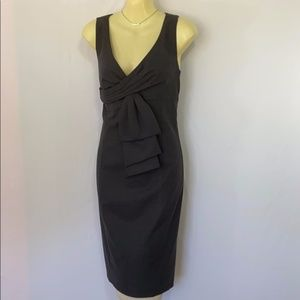RED VALENTINO DRESS BOW GRAY SHEATH EUC 8